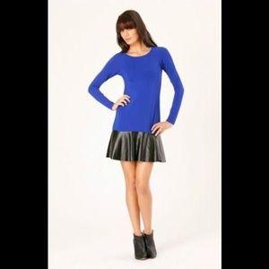 Hale Bob Solid Long Sleeve Dress With Peplum Hem S